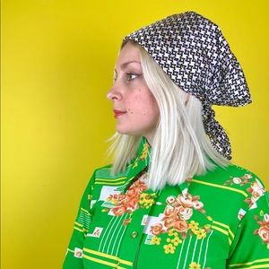 Vintage 60s op art head scarf hippie bandana OSFM